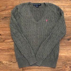 Ralph Lauren Sport Gray V-Neck Cable Knit Sweater